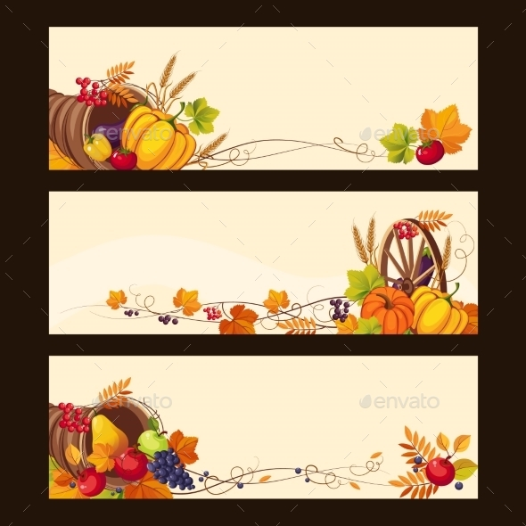 Autumn Banners with Ripe Vegetables and Fruit - Seasons Nature