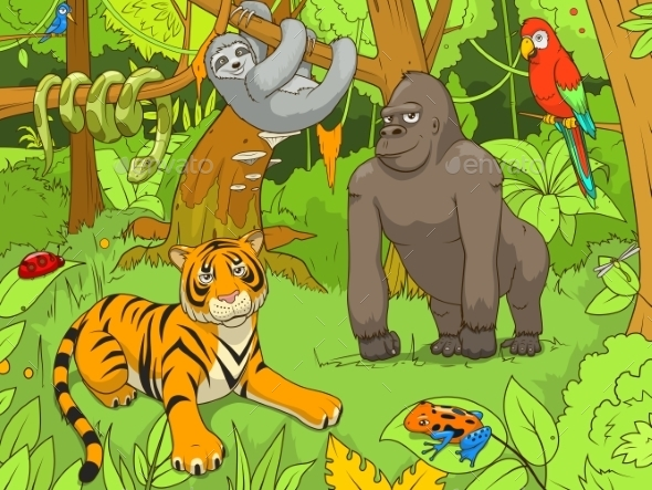 Jungle Animals Cartoon Illustration - Animals Characters