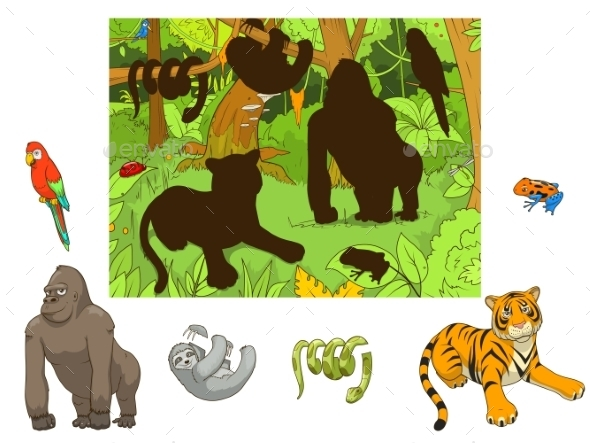 Jungle Animals Cartoon Educational Game - Animals Characters