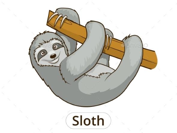 Sloth Cartoon Illustration - Animals Characters