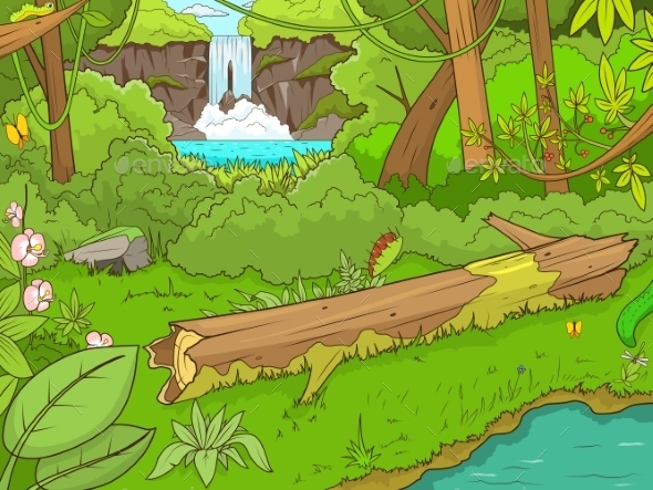 Jungle Forest with Waterfall Cartoon - Backgrounds Decorative