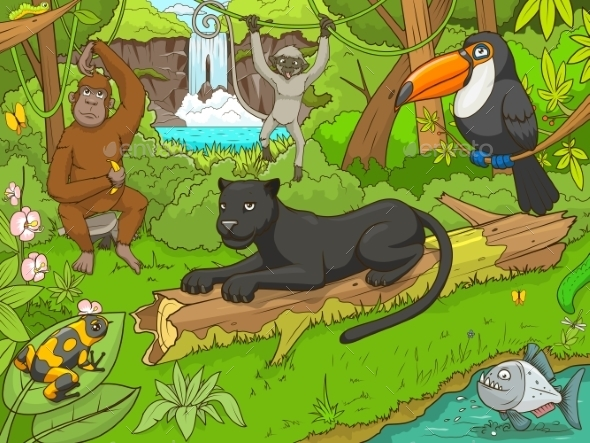 Jungle Forest With Animals Cartoon - Backgrounds Decorative