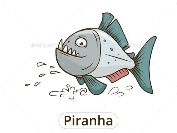 Piranha Fish Cartoon Illustration - Animals Characters