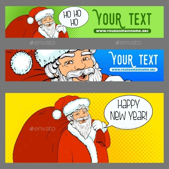Banners Ads Santa Claus Pop Art Retro Halftone  - New Year Seasons/Holidays