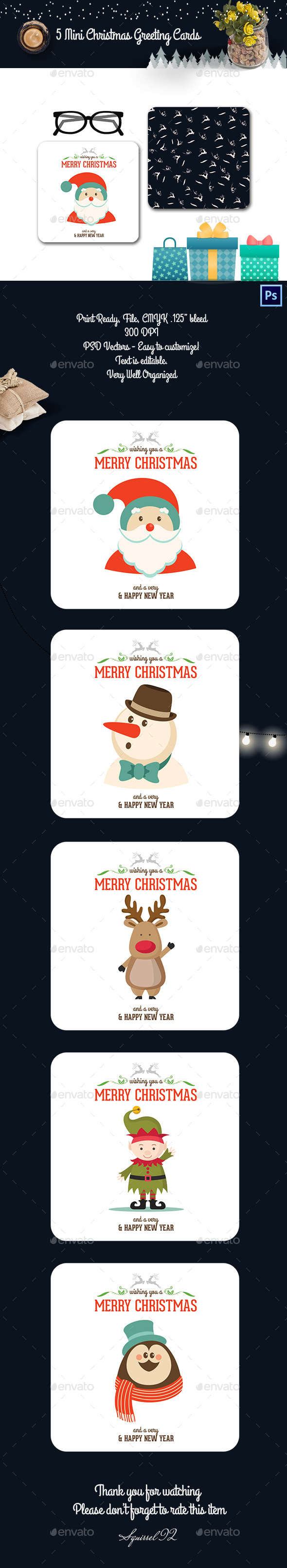 5 Mini Christmas Greeting Cards - Greeting Cards Cards & Invites