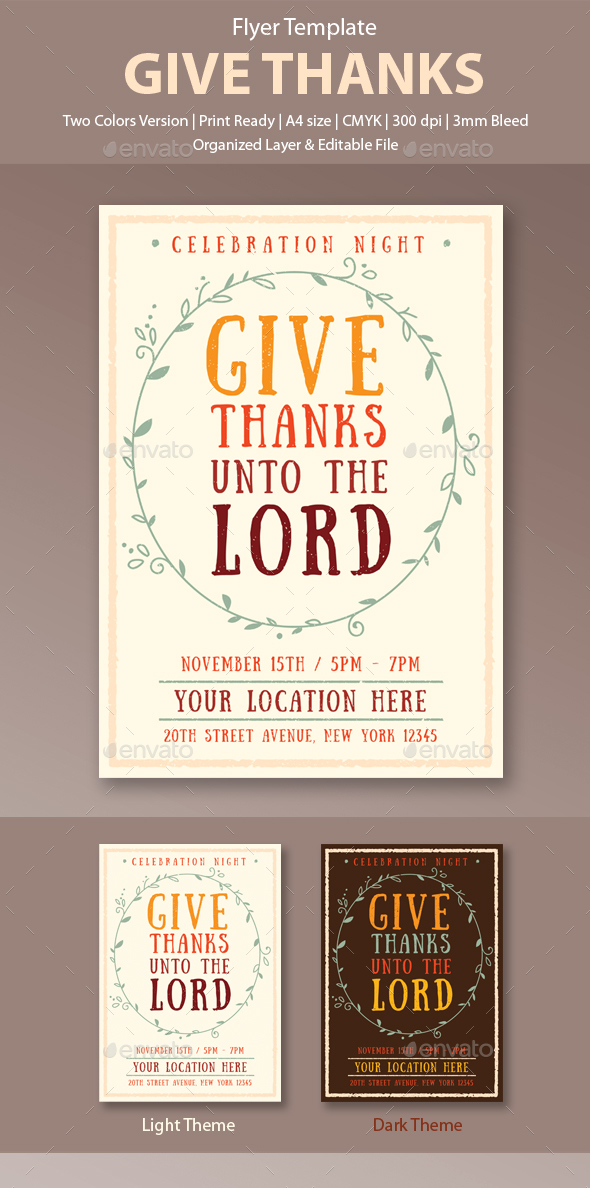 Give Thanks Flyer Template - Church Flyers