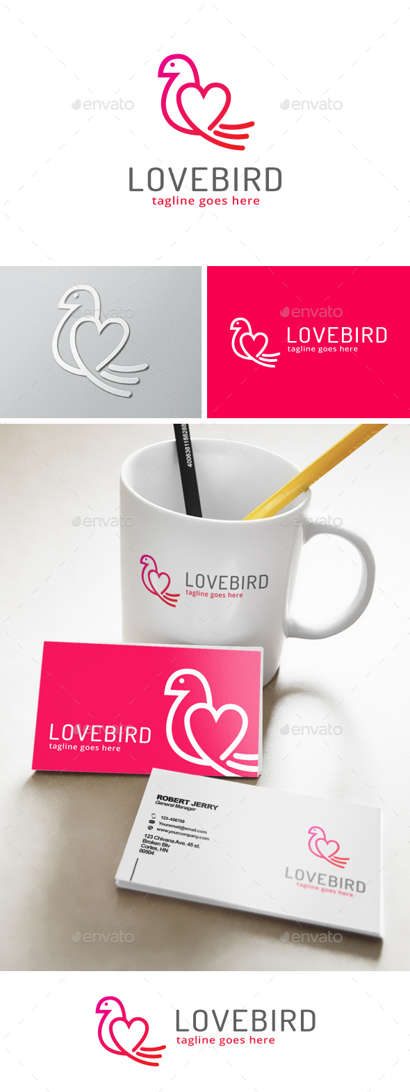 Love Bird Logo - Animals Logo Templates