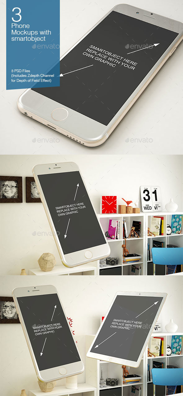 Phone Mockup 3 Poses - Mobile Displays