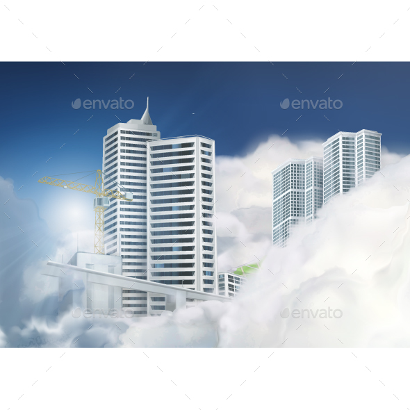 City in the Clouds - Buildings Objects