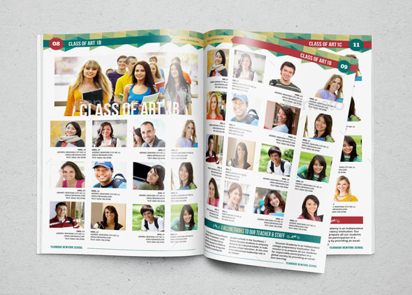 Yearbook template design vol 1 by hiro27 graphicriver for Free online yearbook templates
