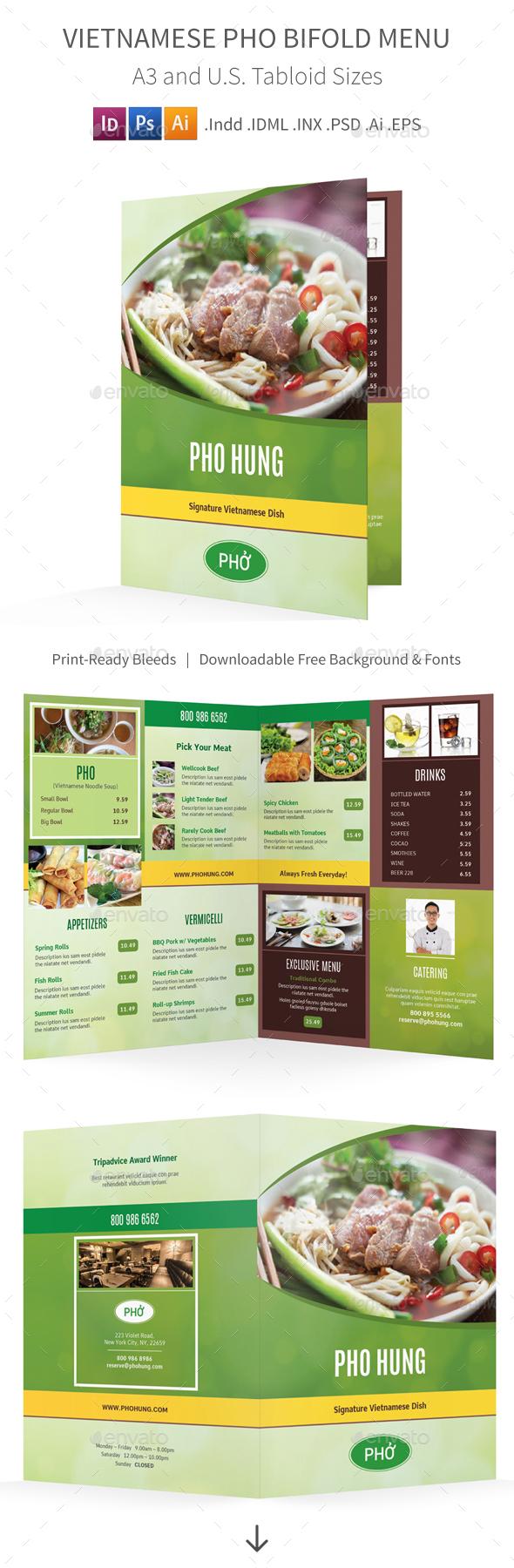 Vietnamese Pho Restaurant Bifold / Halffold Menu - Food Menus Print Templates