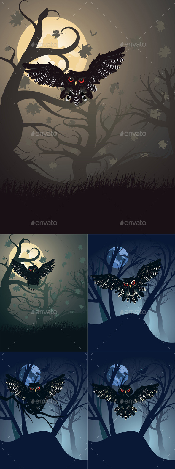 Owl in the Night Forest - Animals Characters