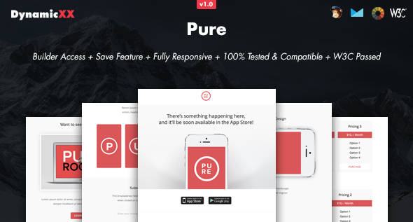 Pure - Responsive Email + Online Template Builder - Email Templates Marketing