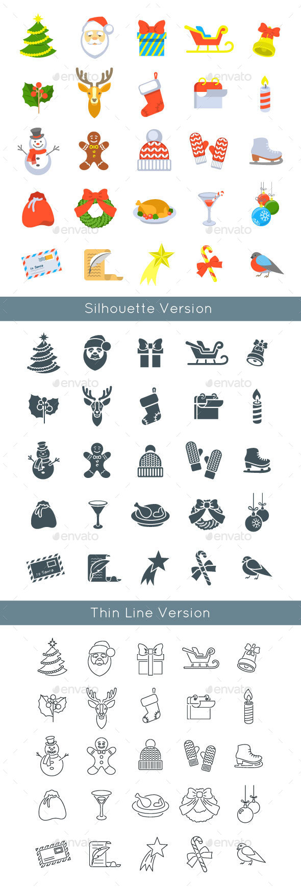 Christmas Symbols Flat Vector Icons Set  - Seasonal Icons