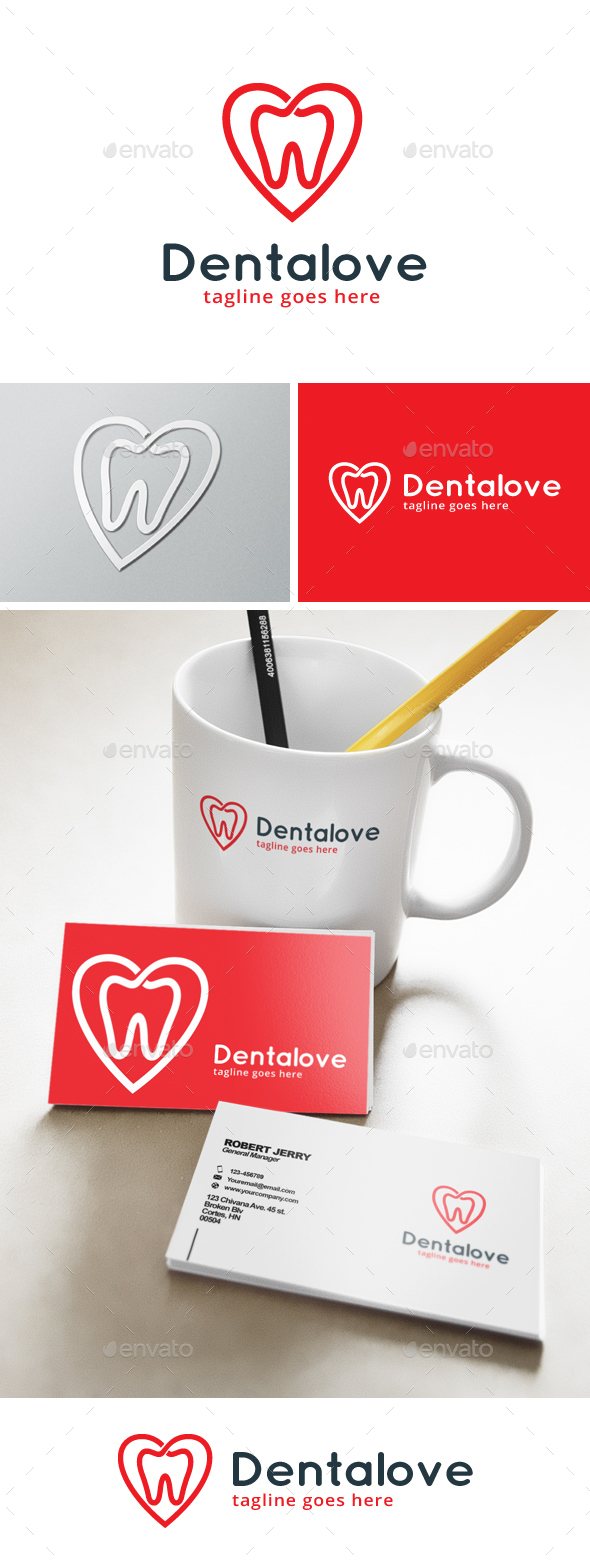 Dental Love Logo - Objects Logo Templates