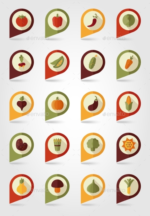 Vegetable Mapping Pins Icons With Long Shadow - Food Objects