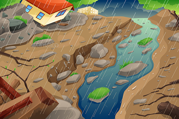 Monsoon Rain Resulting in Flood and Mudslide - Nature Conceptual
