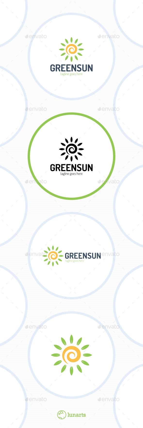 Green Spiral Sun Logo - Nature Logo Templates