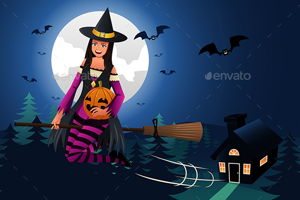Witch Flying in Front of the Full Moon - Halloween Seasons/Holidays