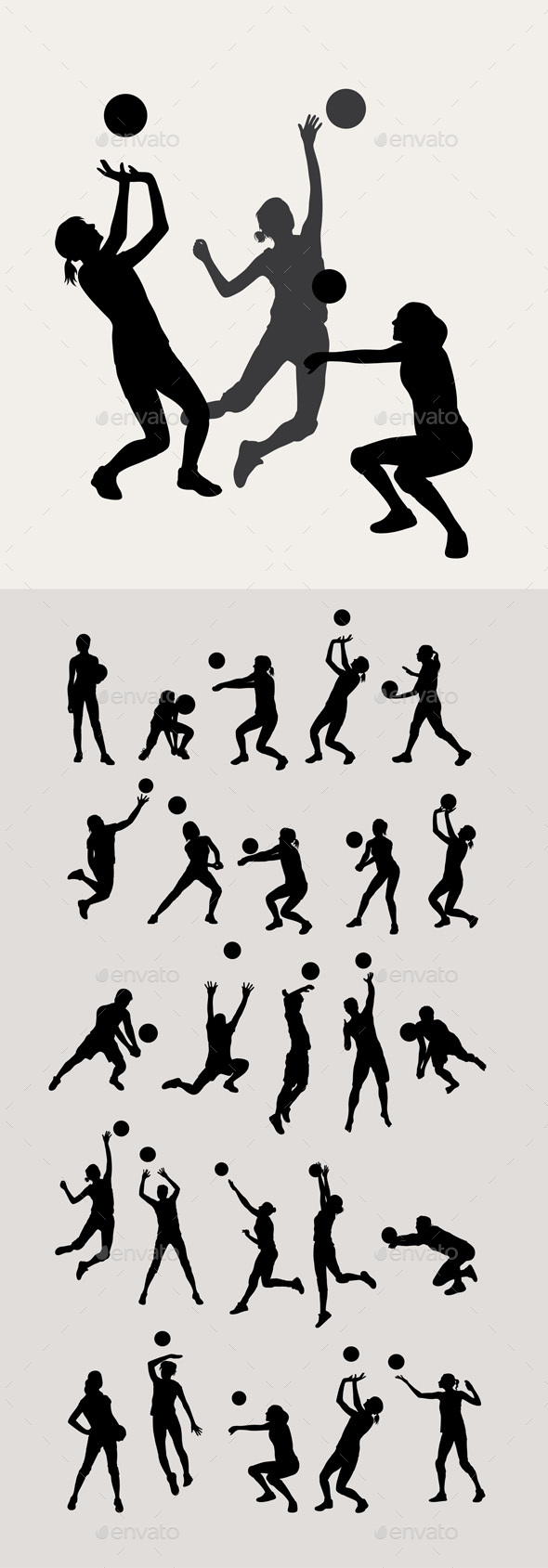 Volleyball Silhouettes - Sports/Activity Conceptual