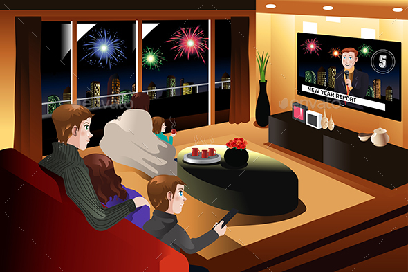 Family Spending Time Together on New Year Eve - New Year Seasons/Holidays