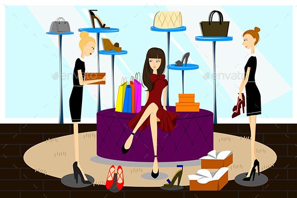 Women Shopping for Shoes - Commercial / Shopping Conceptual