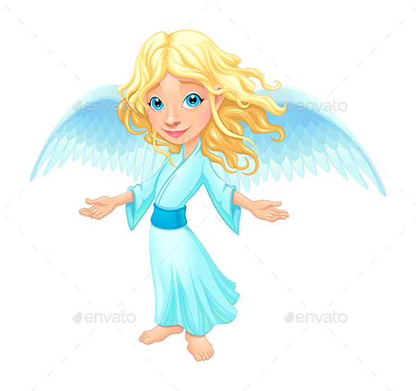 Smiling Angel with Wings - Characters Vectors