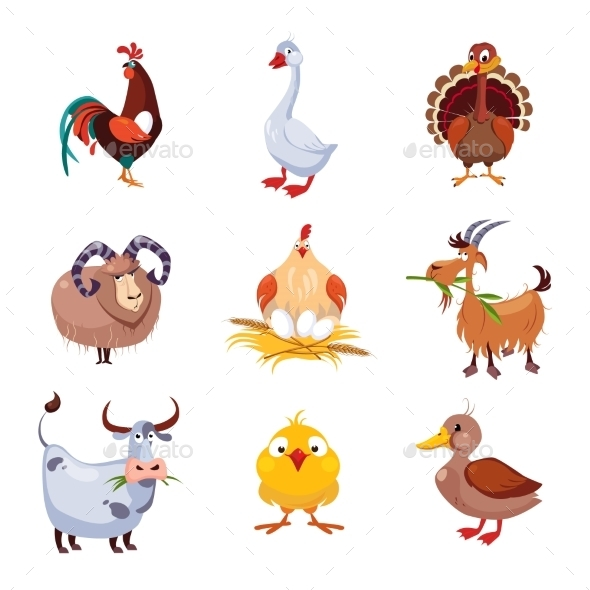 Farm Animal And Birds Vector Illustration Set - Animals Characters