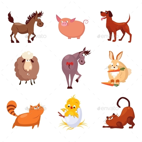 Domestic Animals And Birds Vector Illustrations - Animals Characters