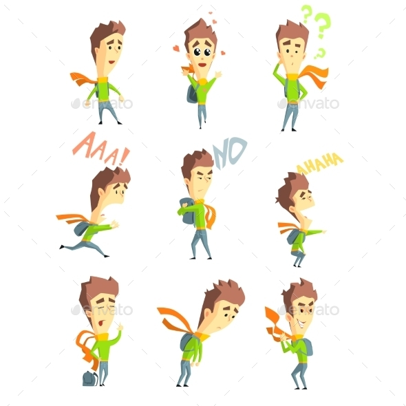 Men Emotions. Vector Illustartion Set In Flat - People Characters