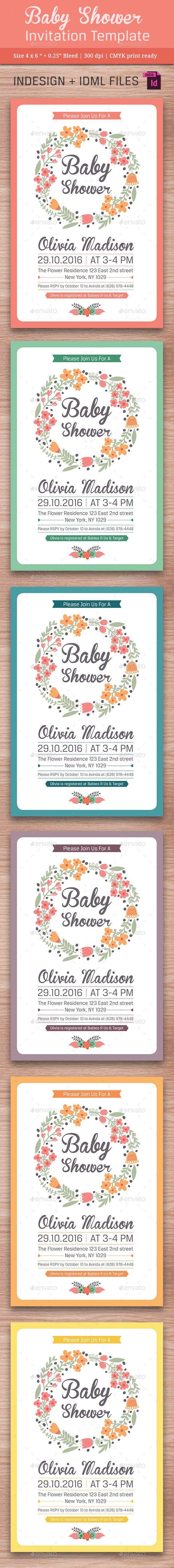 Baby Shower Template - Vol. 11 - Cards & Invites Print Templates