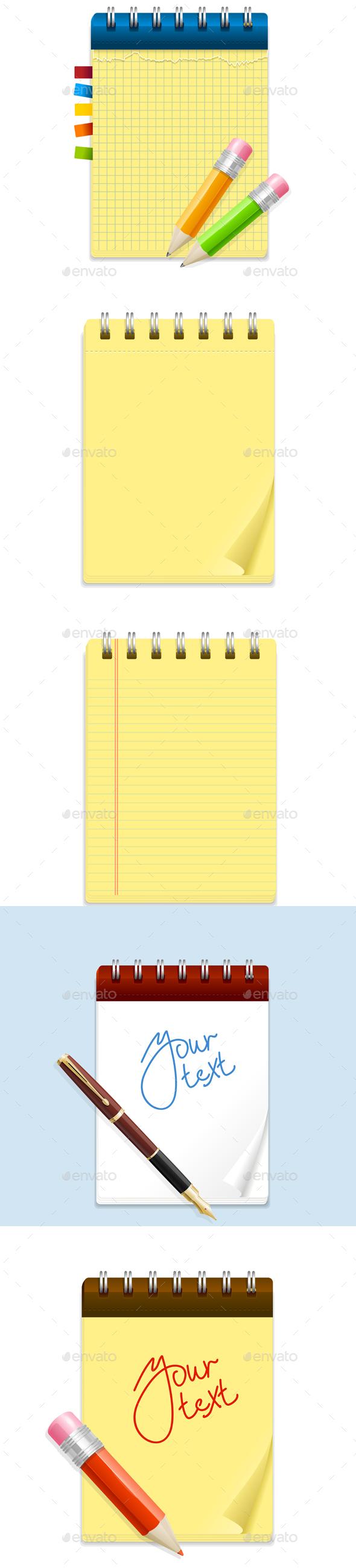 Note Paper and Pencil, Pen Set. Vector - Conceptual Vectors