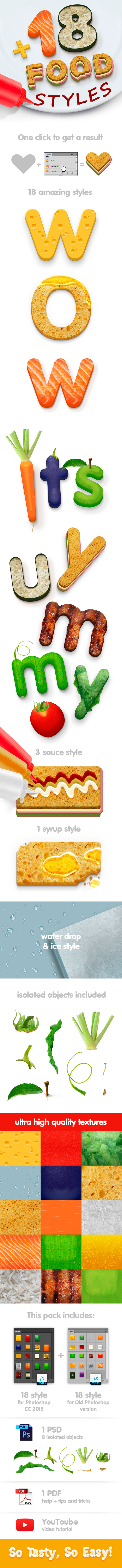 18 Food Styles  - Styles Photoshop