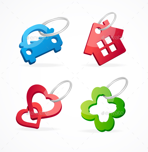 Key Chain Collection and Rings. Vector - Objects Vectors