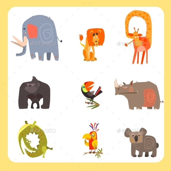 Safari Animals And Birds Vector Illustration Set - Animals Characters