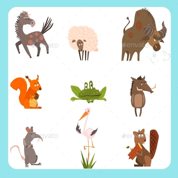Domestic And Wild Animals Vector Illustration Set - Animals Characters