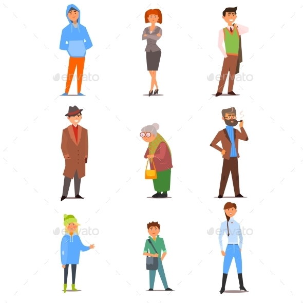 People Of Different Lifestyle, Age And Profession - People Characters