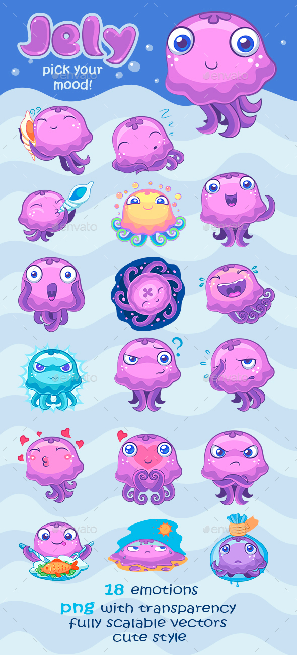 Jelly Illustrations Pack - Animals Characters