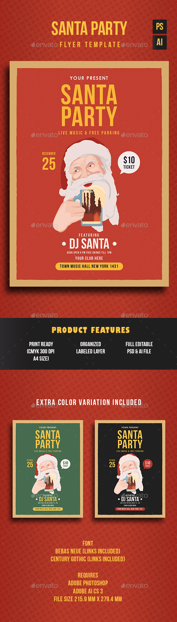 Santa Party Flyer Template - Holidays Events
