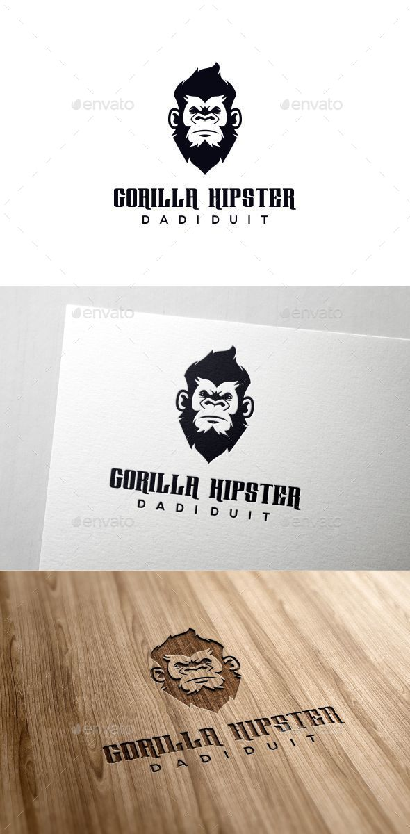 Gorilla Hipster - Animals Logo Templates