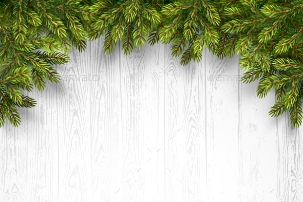 Wooden Background with Fir Branches - Christmas Seasons/Holidays