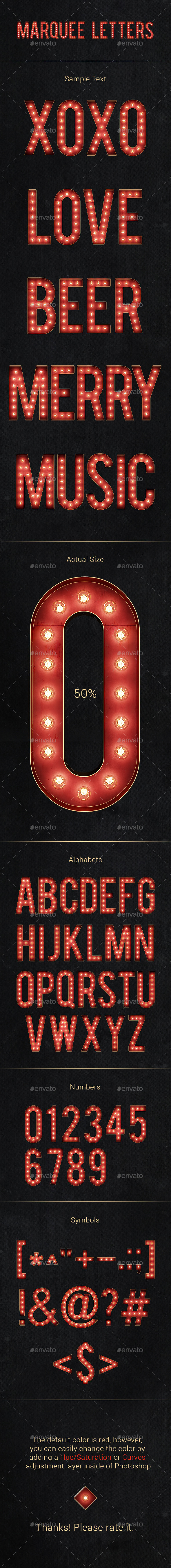Marquee Letters - Text 3D Renders