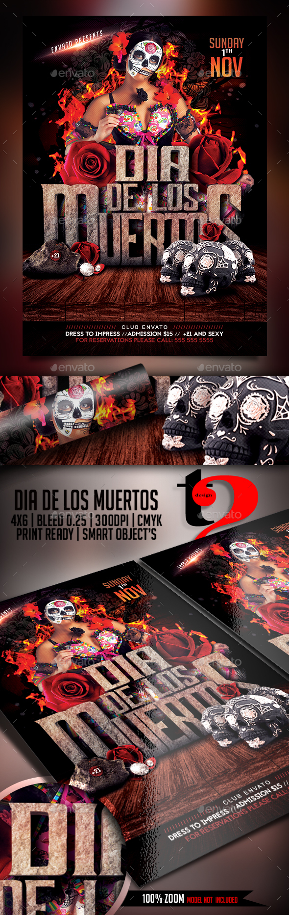 Dia De Los Muertos Flyer Template   - Clubs & Parties Events