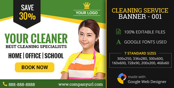 GWD | Cleaning Service Ad - 001 - CodeCanyon Item for Sale
