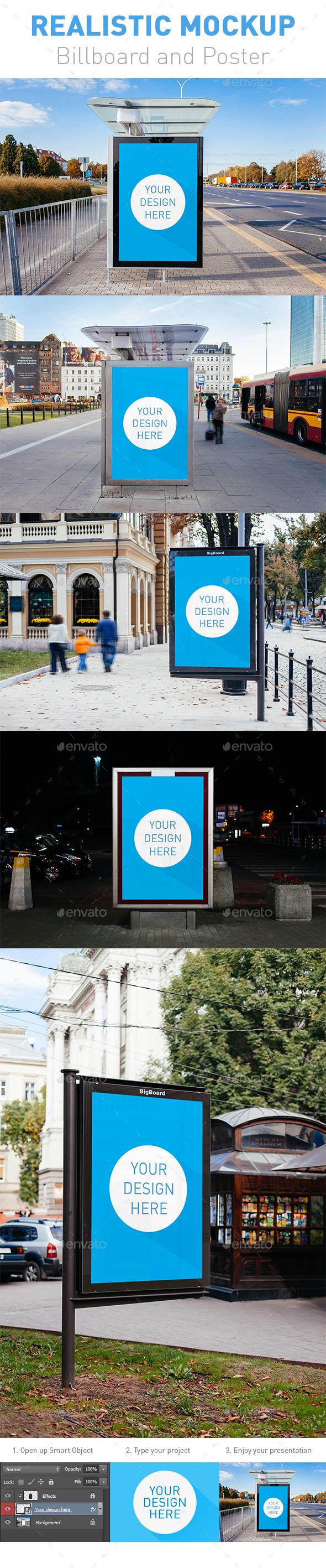 5 Realistic Billboard and Poster Mockup - Product Mock-Ups Graphics