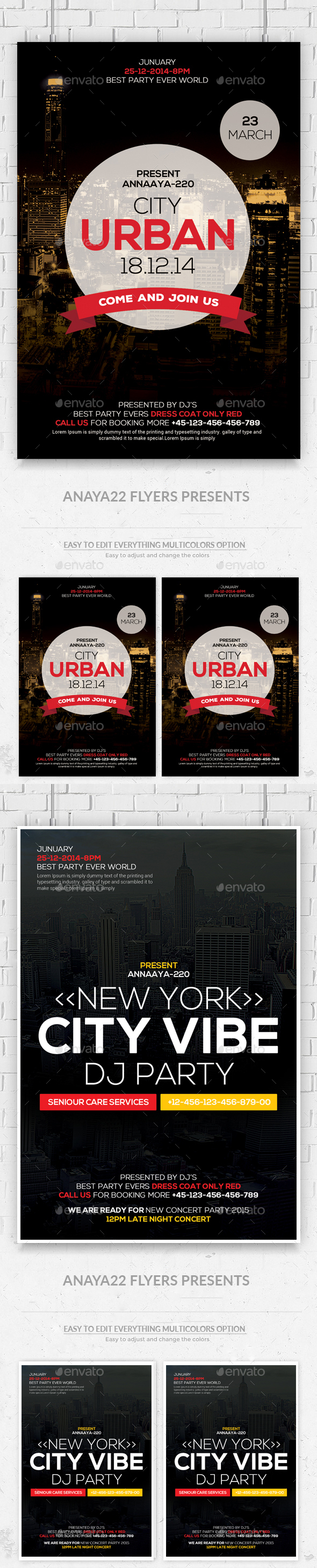 Urban City Flyers Bundle Template  - Clubs & Parties Events