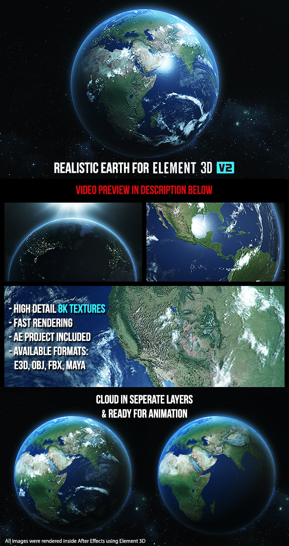 Realistic Earth - Element 3D - 3DOcean Item for Sale