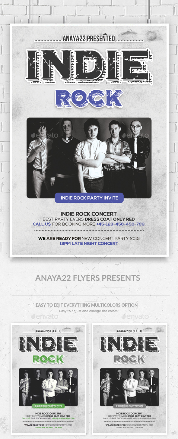 Indie Rock Flyer/ Poster  - Clubs & Parties Events