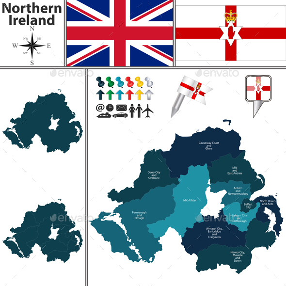 Map of Northern Ireland with Subdivisions - Travel Conceptual