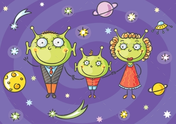 Cartoon Alien Family - Monsters Characters